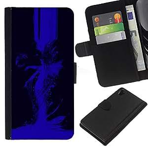 KLONGSHOP // Tirón de la caja Cartera de cuero con ranuras para tarjetas - Imágenes abstractas en azul - Sony Xperia Z2 D6502 //