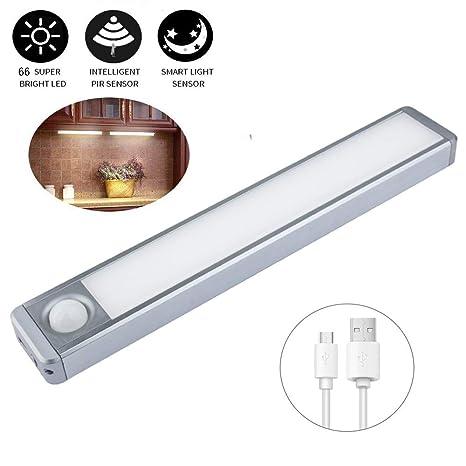 Luces de armario LED Sensor de movimiento Iluminación recargable inalámbrica debajo del gabinete para armario de