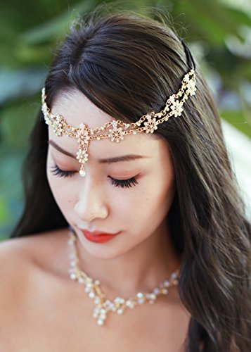 Missgrace Crystal Bohemian Women Head Chain Wedding Party Hair Accessories Bohemian Headpiece (Headpiece Set)