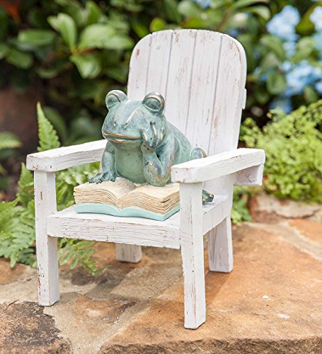 Cheap Plow & Hearth Reading Frog Outdoor Garden Statue, 6.5 L x 6 W x 7.75 H