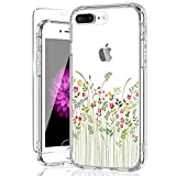 iPhone 8 Plus Case,iPhone 7 Plus Case with Screen Protector,Cute Florals for Women Girls Soft Silicon Rubber TPU Plasic Cover with Clear Bumper Slim Fit Protective Phone Case for iPhone 7 Plus/8 Plus