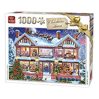 King 55873 Puzzle Da 1000 Pezzi Motivo Casa Di Natale 68 X 49 Cm