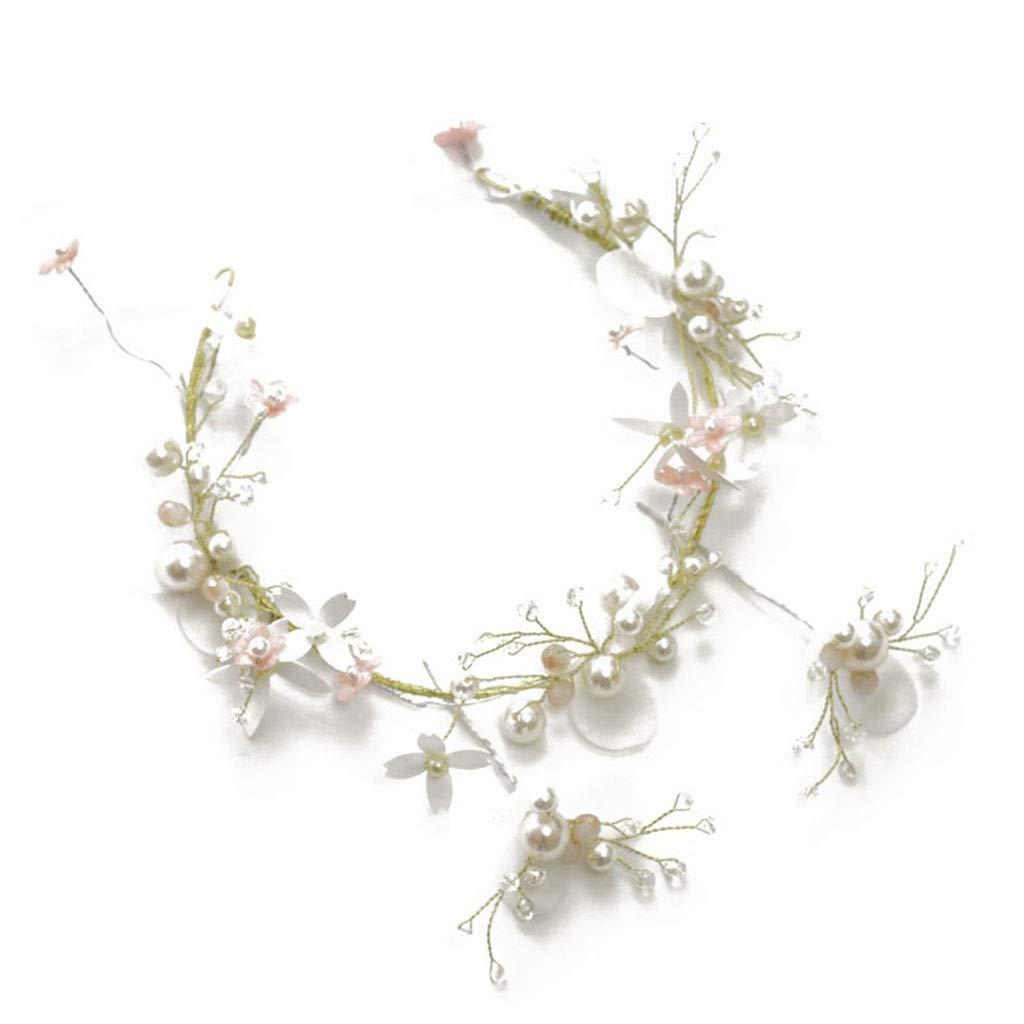 Wreath Flower Girl Headdress Juan Yarn Flower Pearl Headband White Wedding Bride Hair Accessories