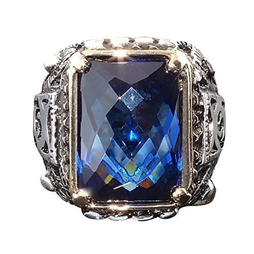 nanzhushangmao 316L Stainless Steel Ring Man Synthetic Aquamarine Crystal Engagement Wedding ()