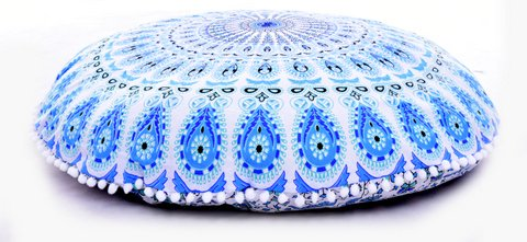 Bohemian Floor Pillows - Round Traditional Vintage Indian Pouf Floor Cushion Cover - Decorative Foot Stool - 100% Cotton - Filler NOT Included (White & Blue) (Footstools Pillows)