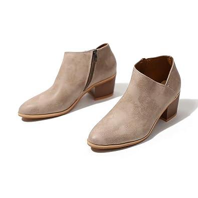 dcb4287dcf4 Bottine Femmes Plates Boots Femme Cuir Cheville Basse Bottes Talon Chelsea  Chic Compensé Grande Taille Chaussures