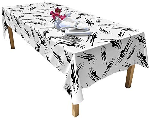 """BottleCloth Table Cloth - Eco Chic - Spill Proof - 60""""x102"""" - White & Black - Splatter"""