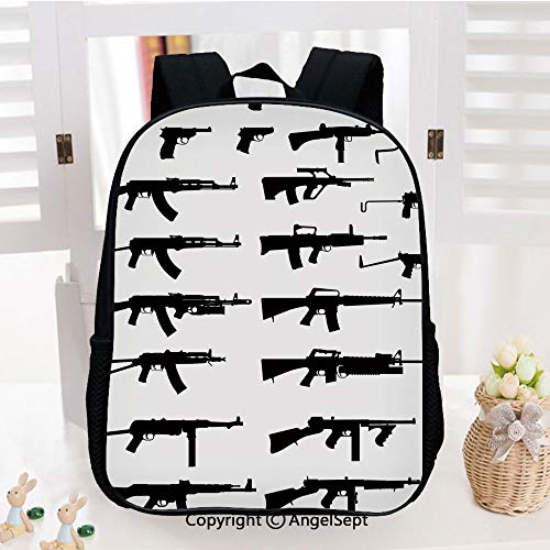 Kids School Backpack,Silhouette of Various Size s s Revolvers War Army Power Concept Decorative Nursery Room Decorations Classic,Plain Bookbag Travel Daypack,Black White