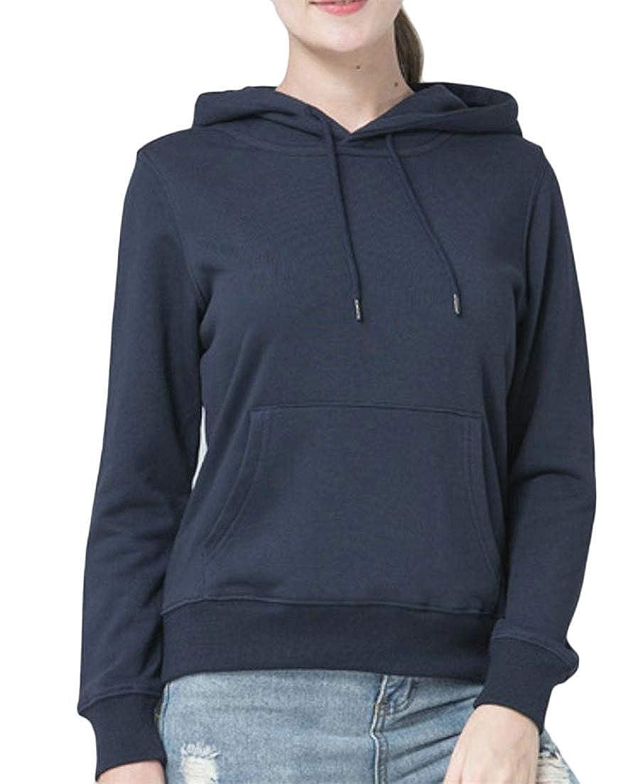XTX Women Pure Color Tops Long Sleeve Hooded Fall Winter Drawstring Pocket Sweatshirts