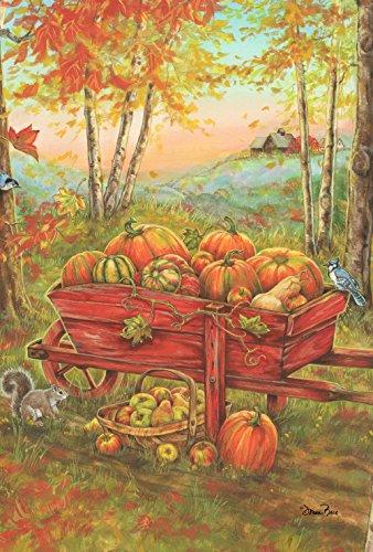 Toland Home Garden Harvest Wheel Barrow 28 x 40 Inch Decorative Fall Autumn Leaves Pumpkin Wheelbarrow House Flag