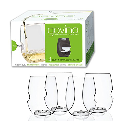 Govino Dishwasher Safe Flexible Shatterproof Recyclable Wine Glasses, 12-ounce, Set of 4 (Wine Glass Dishwasher Safe compare prices)