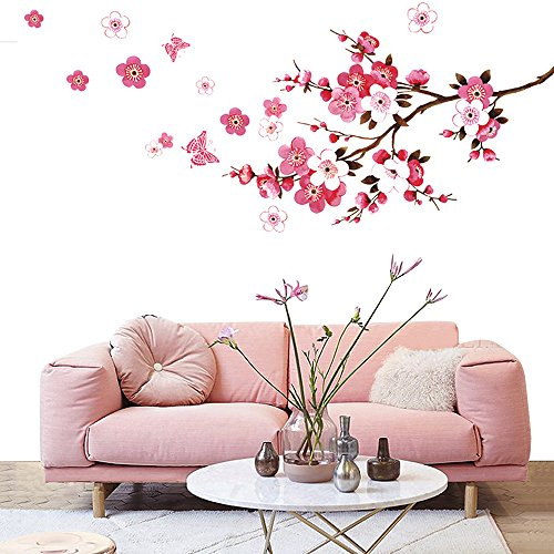 Wopeite Wall Sticker Decal Flora Pink Peach Blossom Flowers Butterfly DIY Removable Mural Art For Kids Nursery Bedroom Living Room