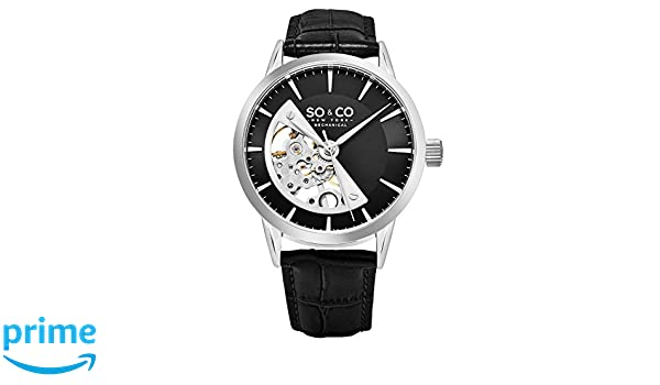 Amazon.com: SO & CO New York Madison 5412.2 Mens Mechanical Silver Case Black Genuine Leather Strap Wrist Watch: SO &CO New York: Watches