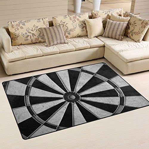 (DEYYA Non-Slip Area Rugs Home Decor, Game Darts Board Wheel Floor Mat Living Room Bedroom Carpets Doormats 60 x 39 inches)