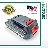 GreenR3 1-PACK 2000mAh 2.0Ah Battery for BLACK AND DECKER LBXR20 (2.0Ah) fit LBX20 LST220 BDCDMT120 EPL188KB ASL186K LST300 LDX120SB LGC120 C300 LPP120 LCC340 Power Tool Lithium Li-Ion and more