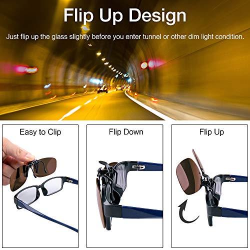Splaks Clip-on Sunglasses, Unisex Polarized Frameless Rectangle Lens Flip Up Clip on Prescription Sunglasses Eyeglass, 2-Piece Clip on Glasses (1 Brown & 1 Yeallow) by Splaks (Image #3)