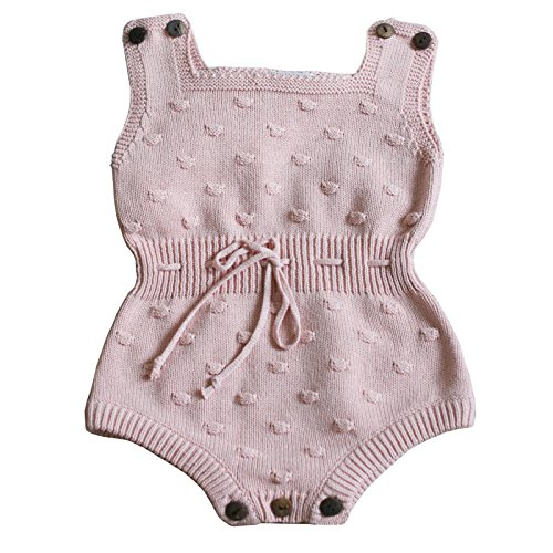 Wennikids Baby Boys and Girls knitting Sweater Crochet Romper Climbing Clothes Medium Pink