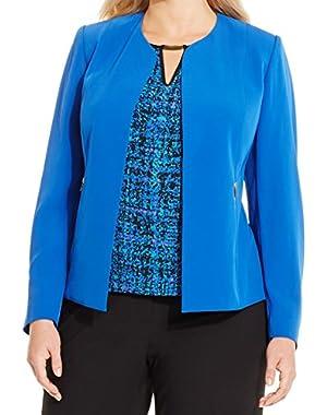 Calvin Klein Plus Size Open-Front Zip-Pocket Jacket