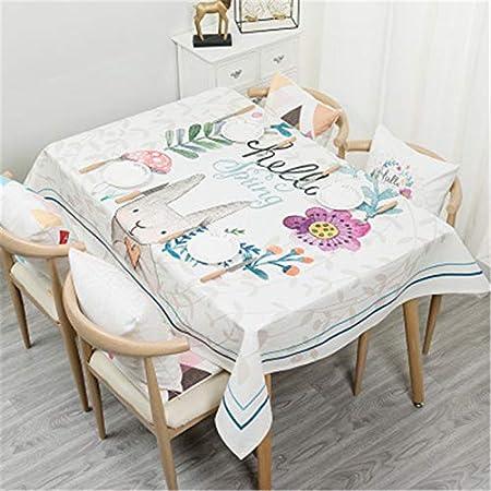 QWEASDZX Mantel Pequeño algodón Fresco y Lino Mantel Resistente a Las Manchas Mantel de Picnic Mantel Rectangular Adecuado para Interiores y Exteriores 90x140cm: Amazon.es: Hogar