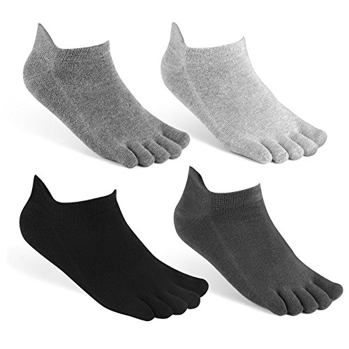 meaiguo Toe Socks No Show Running Five Finger Crew Socks for Men Women 4 Pack