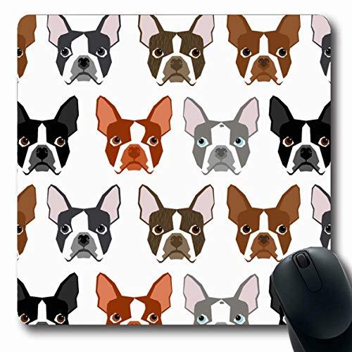 Ahawoso Mousepads Boston Terrier Cute Colors Boston Terrier Oblong Shape 7.9 x 9.5 Inches Oblong Gaming Mouse Pad Non-Slip Rubber Mat ()