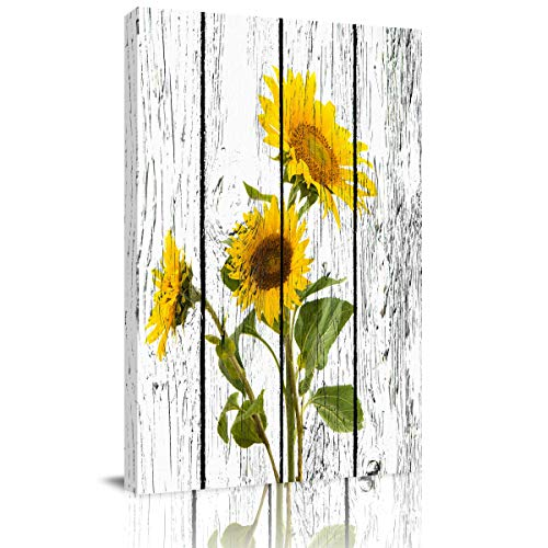 Painting on Canvas Wall Art-Yellow Sunflowers on Rustic Wooden Panels - Nature Photo Prints Modern Artwork for Bed Bathroom Dining Room Home Decor,Stretched and Framed Ready to Hang,12x16in (Wall Art Bathroom Yellow)