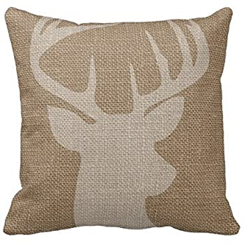 this item cukudy decors square decorative throw pillow case cushion cover rustic deer buck burlap throw pillows 18 x 18 2 sides printed