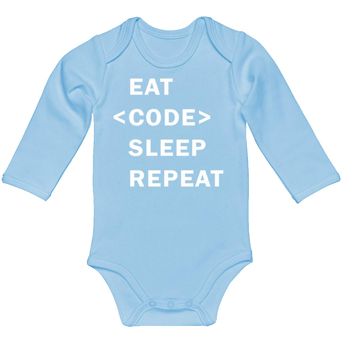 Indica Plateau Baby Romper Eat Code Sleep Repeat 100/% Cotton Long Sleeve Infant Bodysuit