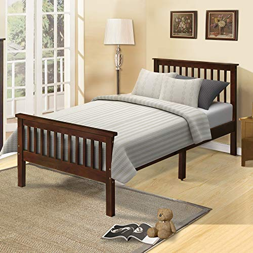 (Platform Twin Bed Frame Wood with Headboard and Footboard, Espresso Finish Solid Wood Single Bed Frame with Wood Slat Support by Harper&Bright Designs)