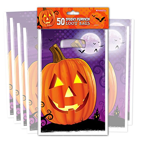 Kangaroo's Pumpkin Loot Bags - (50 Pk) Jack O Lantern Trick or Treat Bags (Halloween Trick Or Treat For Kids)