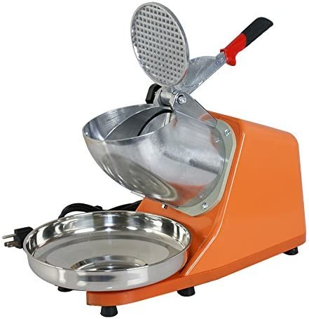 ZENY Electric Ice Shaver 300W 2000r/min w/Stainless Steel Blade Shaved Ice Snow Cone Maker Kitchen Machine (Orange)
