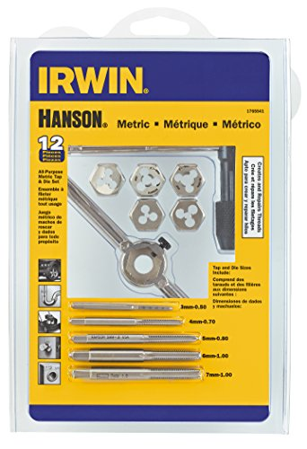 Hanson 1765541 3mm-7mm Tap plus Die Set Metric for Tap Die Extraction, 12 Piece