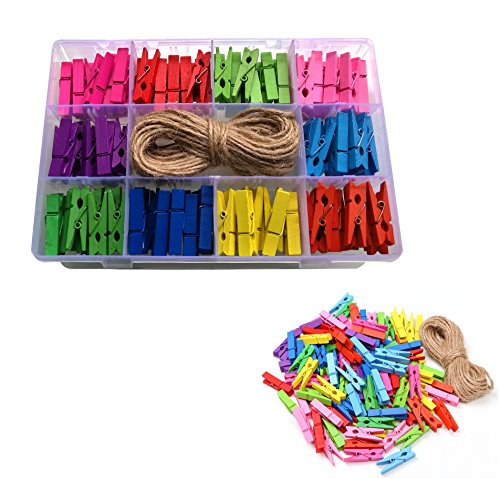 PENTA ANGEL Mini Bright Colored Spring Natural Wooden Clothespins Photo Paper Peg Pin Craft Clips with Twine (120 PCS)