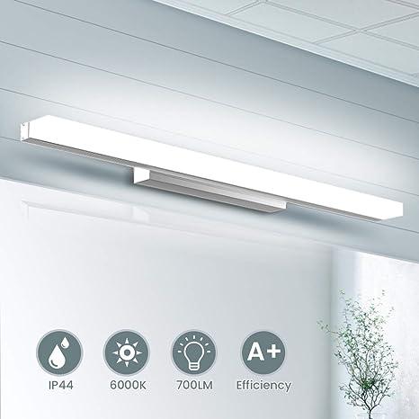 Lampe Miroir LED 40CM, SOLMORE Applique Salle de Bain 700LM 8W 6000K Lampe  Miroir pour Salle de Bain Miroir LED IP44 Applique LED Lampe Salle de Bain  ...
