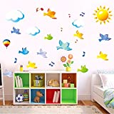 Ghaif Bird solar accented white cloud music to move the child will fit beautifully decorated bedrooms classroom wall posters 5070CM