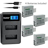 Kastar Battery 4 Pack and LCD Dual Charger for Eken PG1050 & Eken H8 Eken H8 Pro H8R Eken H9 Eken H9R Eko Full HD 1080p Wifi Eko HD 720p Eko Ultra HD 4K Wifi Evolveo MiniDVR DV Evolveo Sportcam A8