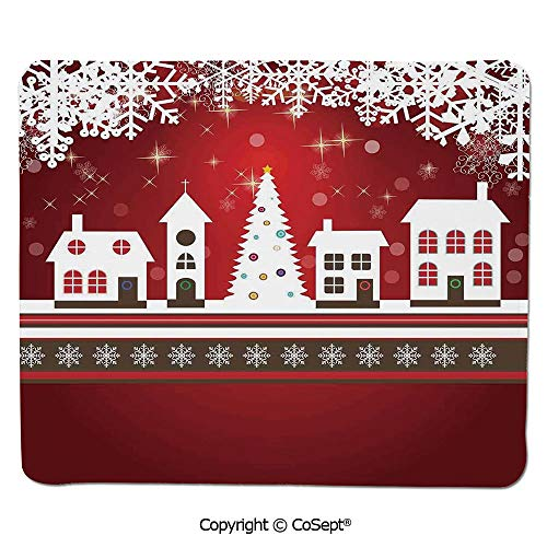 "Ergonomic Mouse pad,Winter Holidays Theme Gingerbread House Tree Lights and Snowflakes Art,for Laptop,Computer & PC (7.87"" x 9.44""),Red White"