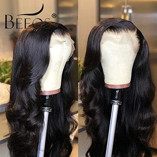 BEEOS 9A 360 Lace Frontal Human Hair Wigs,150% Density Pre Plucked and Bleached Knots with Baby Hair, Body Wave Natural Black Brazilian Remy Hair Wigs(18 inch)