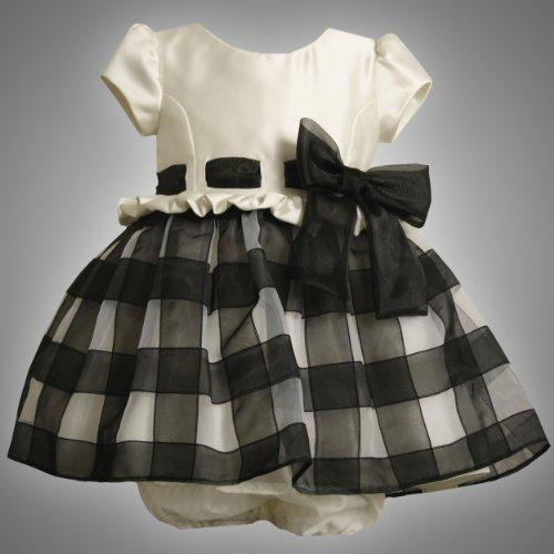 Bonnie Jean Baby Girls BLACK WHITE SATIN ORGANZA RIBBON CHECK Dress