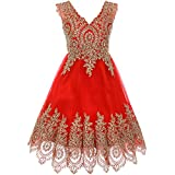 Big Girls Fabulous Sleeveless Gold Coiled Lace Mesh Tulle Skirt Flower Girl Dress Red - Size 8