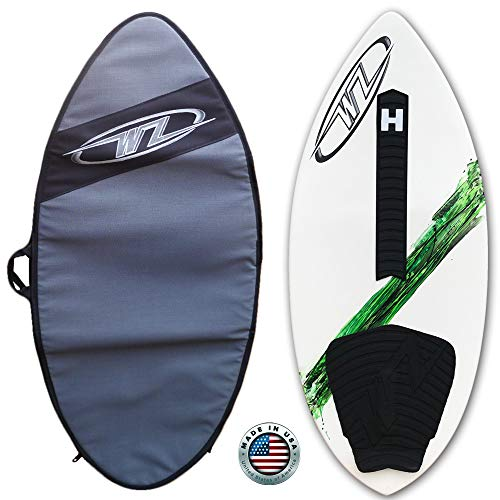 """42"""" Green Wave Zone SE Carbon & Fiberglass Skimboard for Beginners & Kids Up to 130 lbs - Complete with Traction Deck Grip - Travel Bag Option (Green 42"""" Board + Travel Bag)"""