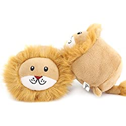 PAWABOO Bed Time Plush Toys, [2PACK] Stuffed Plush Animal Toys Soft Faux-fur Lion Style Play Toys Non-toxic Plush Lion Doll, Light Brown