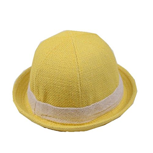 Rejected all traditions Unisex Kids Solid Color Contrast Band around Roll Brim Fedora Trilby Derby Hat Cap - Yellow (Toddler Yellow Hat)