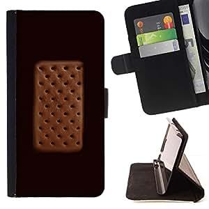 Momo Phone Case / Flip Funda de Cuero Case Cover - Cream Sandwich del lunar de Brown - Samsung Galaxy S5 V SM-G900