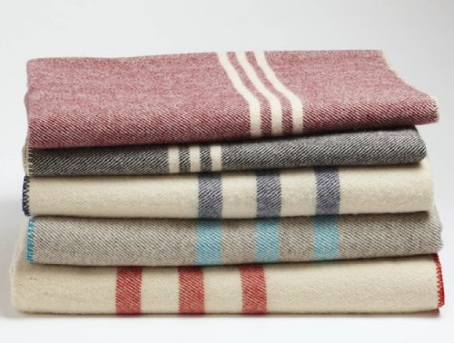 Coyuchi Organic Striped Wool Blanket, Throw, Charcoal with Natural