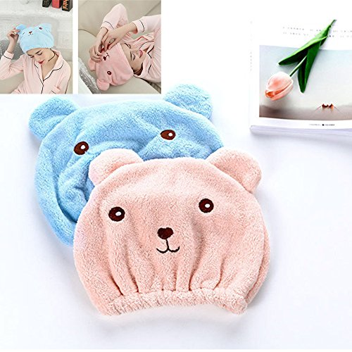 DICPOLIA Bathroom supplies Microfiber Hair Turban Quickly Dry Hair Hat Wrapped Towel Bathing Cap Absorbent Hair Drying Caps Wraps for Girls and Women (Blue)