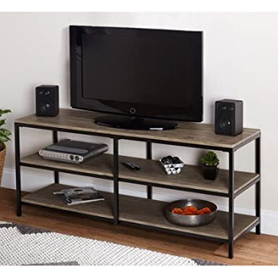 "TV Stand in Wood Construction Accommodates most flat screen TVs up to 52"" with 2 shelves, Natural Finish"