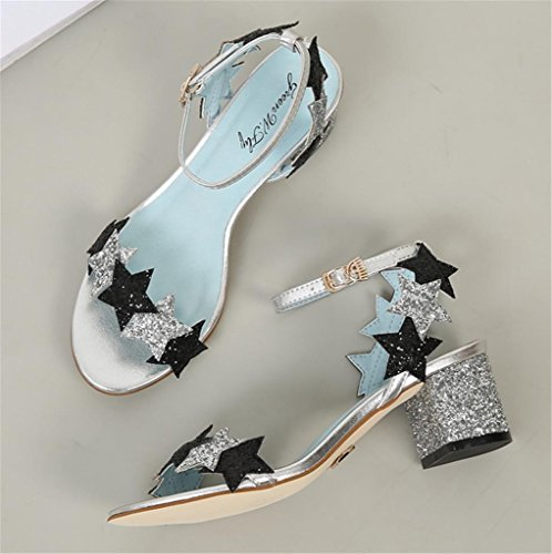 Black Pinkhigh Fashion Sandals Star Sequins Elegant Summer Strappy Blue Glitter MNII Heel 38 qBUa0Yw