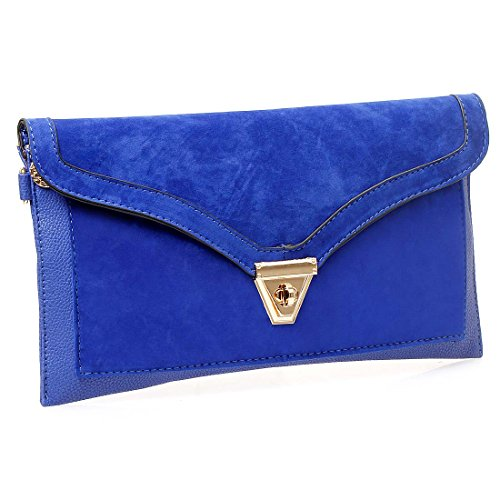 bmc-womens-sapphire-blue-textured-pu-faux-leather-suede-topped-envelope-flap-handbag-fashion-clutch