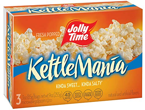 Jolly Time KettleMania Microwave Kettle Corn - Sweet & Salty Gourmet Popcorn, 3-Count Boxes (Pack of 12)